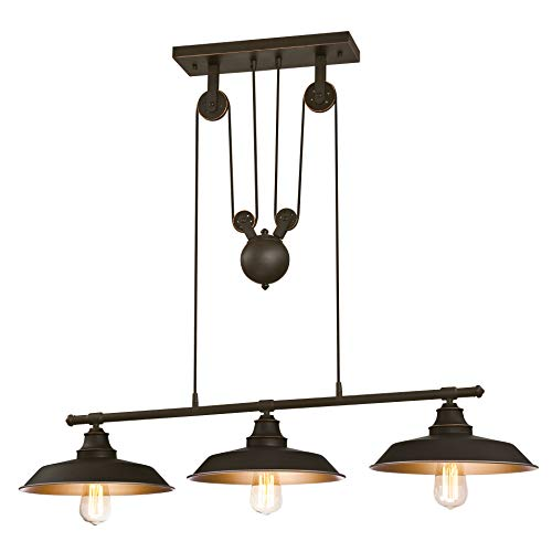 Westinghouse Lighting Three-Light Indoor Island Pulley Pendant Poleas, Bronce...